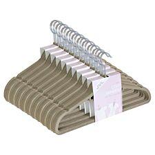 JVL Beige Velvet Non-Slip Coat Hangers - Pack of 100