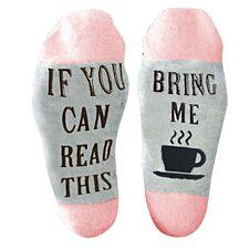 "Flo Slogan Socks ""Bring Me A Cup of Tea""- Pink & Grey"