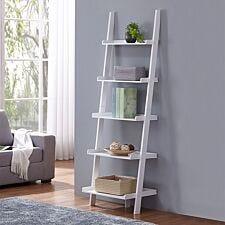 Charles Bentley Tall Wooden 5 Rung Storage Ladder - White