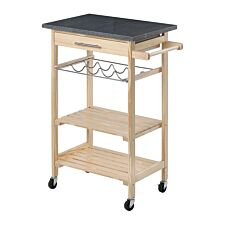 Premier Housewares Pinewood Kitchen Trolley with Granite Top - Natural