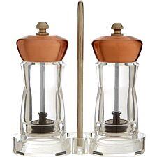 Premier Housewares Salt & Pepper Mills With Stand - Rose Gold