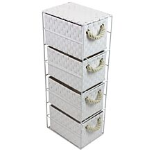 JVL 4 Drawer White Storage Unit with Rope Handles
