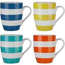 Premier Housewares Multi-coloured Stripe Mugs - Set of 4