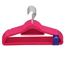 JVL Pink Velvet Touch Non-Slip Medium Coat Hangers - Pack of 100