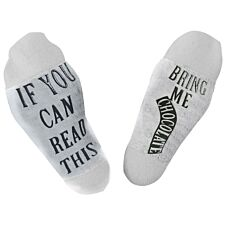 "Flo Slogan Socks ""Bring Me Chocolate"" - White & Grey"