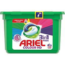 Ariel Colour HD 3 in 1 Washing Capsules - 15 Pods
