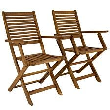Charles Bentley Wooden FSC Acacia Pair of Outdoor Dining Foldable Armchairs