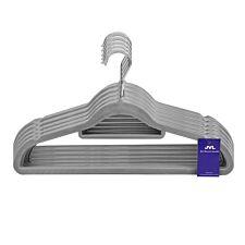 JVL Grey Velvet Touch Non-Slip Medium Coat Hangers - Pack of 100