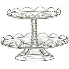 Premier Housewares 2 Tier Wire Cake Stand - Cream