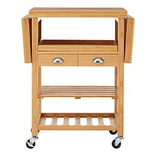 Premier Housewares Bamboo Kitchen Trolley - Natural