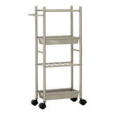 Premier Housewares Brush Nickel Kitchen Trolley with 2 Baskets - Silver