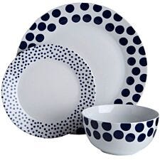 Premier Housewares 12-Piece Blue Spots Dinner Set