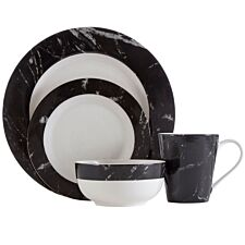 Premier Housewares 12-Piece Black Marble Dinner Set