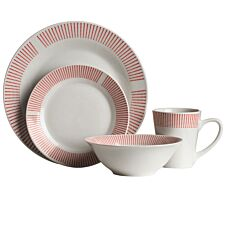 Premier Housewares 12-Piece Red Stripe Dinner Set