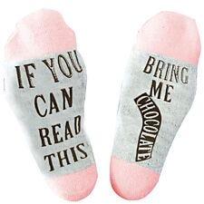 "Flo Slogan Socks ""Bring Me Chocolate"" - Pink & Grey"