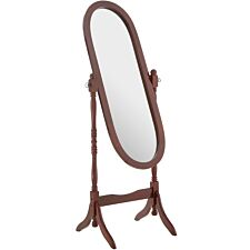 Premier Housewares Oval Cheval Mirror with Mahogany Finish Frame