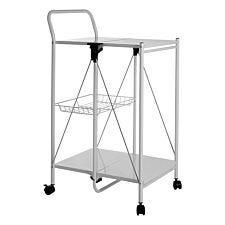 Premier Housewares Rectangular Folding Kitchen Trolley - White