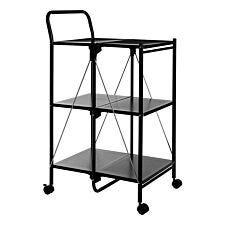 Premier Housewares Rectangular Folding Kitchen Trolley - Black