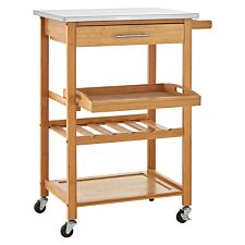 Premier Housewares Bamboo Kitchen Trolley with Stainless Steel Top - Natural