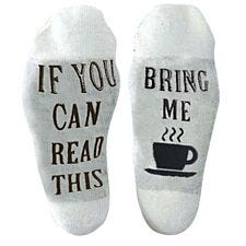 "Flo Slogan Socks ""Bring Me A Cup of Tea"" - White & Grey"