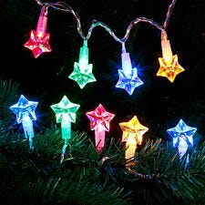 Robert Dyas Battery Operated Star Transparent String Lights - Multi-Coloured