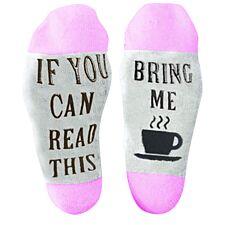 "Flo Slogan Socks ""Bring Me A Cup of Tea"" - Purple & Grey"