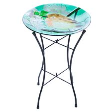 Flamboya Robin Glass Birdbath