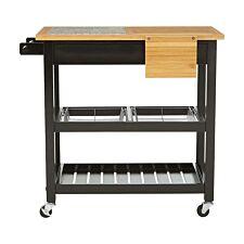 Premier Housewares Pinewood Kitchen Trolley with Granite Top - Black