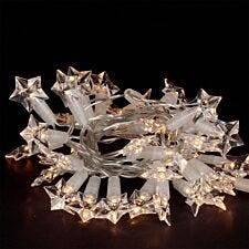 Robert Dyas Battery Operated Star Transparent String Lights - Warm White