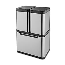 Tower 100L Stacked Sensor Recycling Bin - Stainless Steel