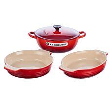 Le Creuset Cast Iron and Stoneware Set 22cm Marmite/24cm Oval Dish/21cm Round Dish Cerise