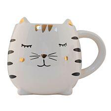 Smiling Cat Ceramic Mug - White