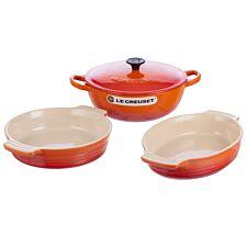 Le Creuset Cast Iron and Stoneware Set 22cm Marmite/24cm Oval Dish/21cm Round Dish Volcanic