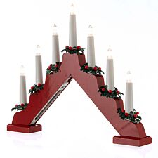 Battery Operated 40cm Wooden Candle Bridge - Red