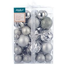 Robert Dyas Mixed 50 Piece Bauble Set - Silver