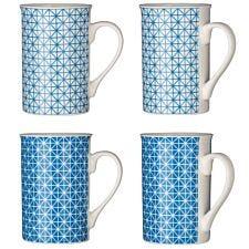 Premier Housewares Blue Maroc Mugs - Set of 4