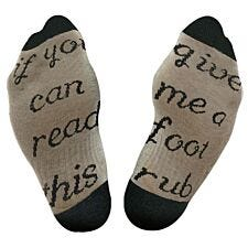 "Flo Slogan Socks ""Give Me A Foot Rub"" - Grey & Black"