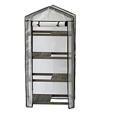 VegTrug 4-Tier Wooden Greenhouse with Cover - Grey