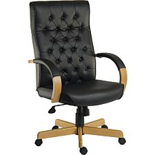 Teknik Warwick Noir Executive Chair with Button-Tufted Backrest