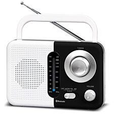Soundz BT USB SD AC/DC Portable Radio with Bluetooth - White/Black