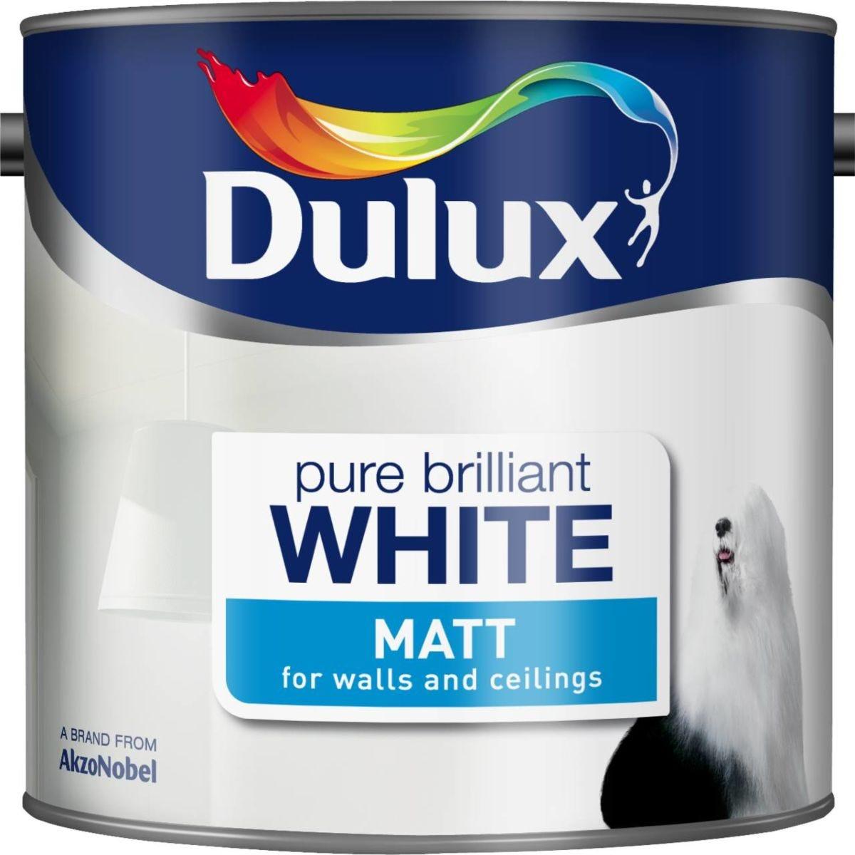 Dulux Matt Pure Brilliant White Paint - 2.5L
