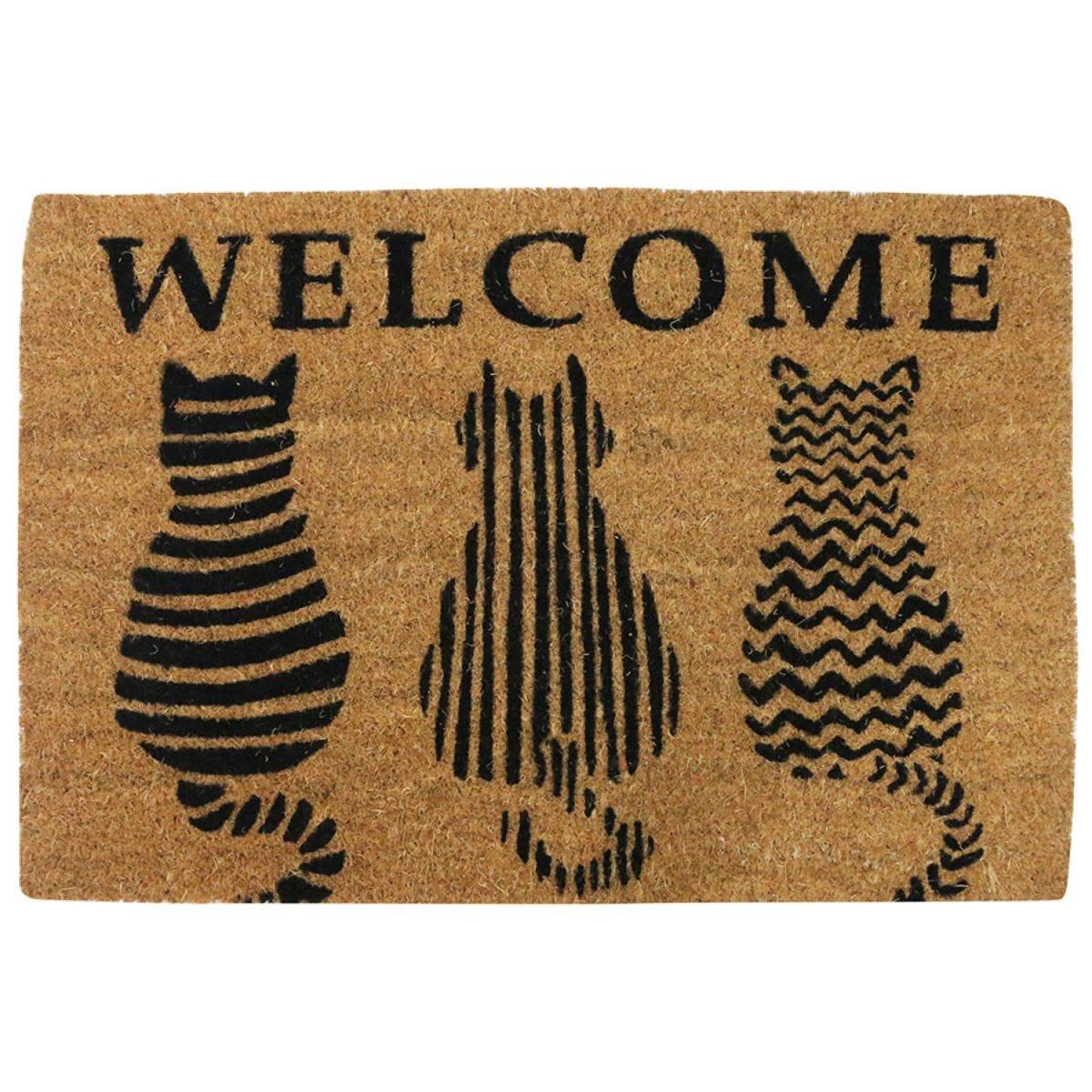 Home Essentials Cat Welcome Coir Doormat - Natural