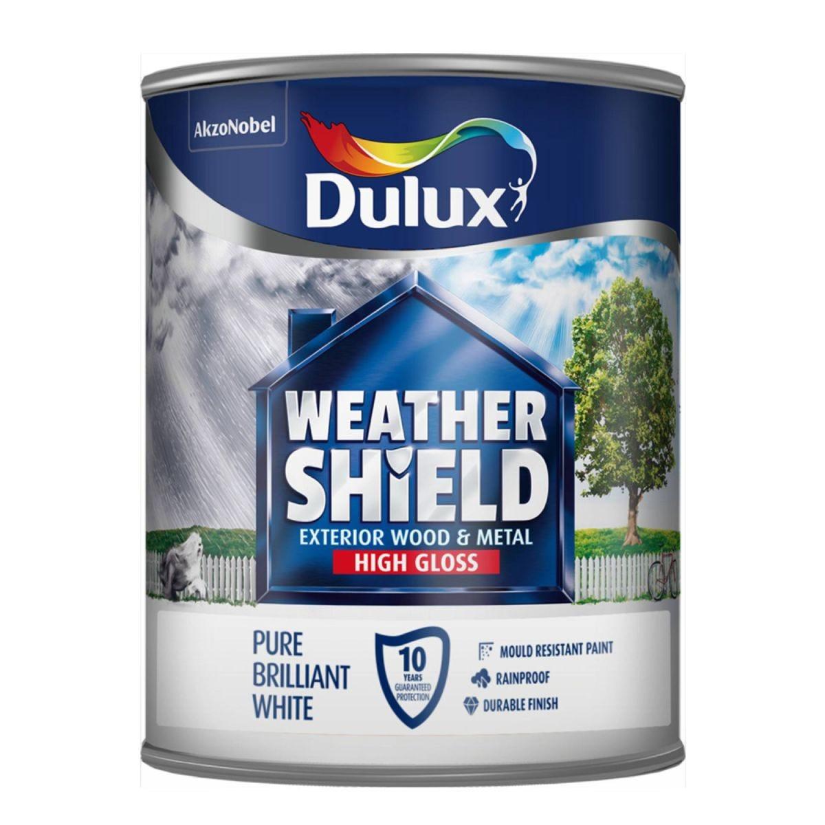 Dulux Weathershield Exterior Gloss – Brilliant White, 750ml