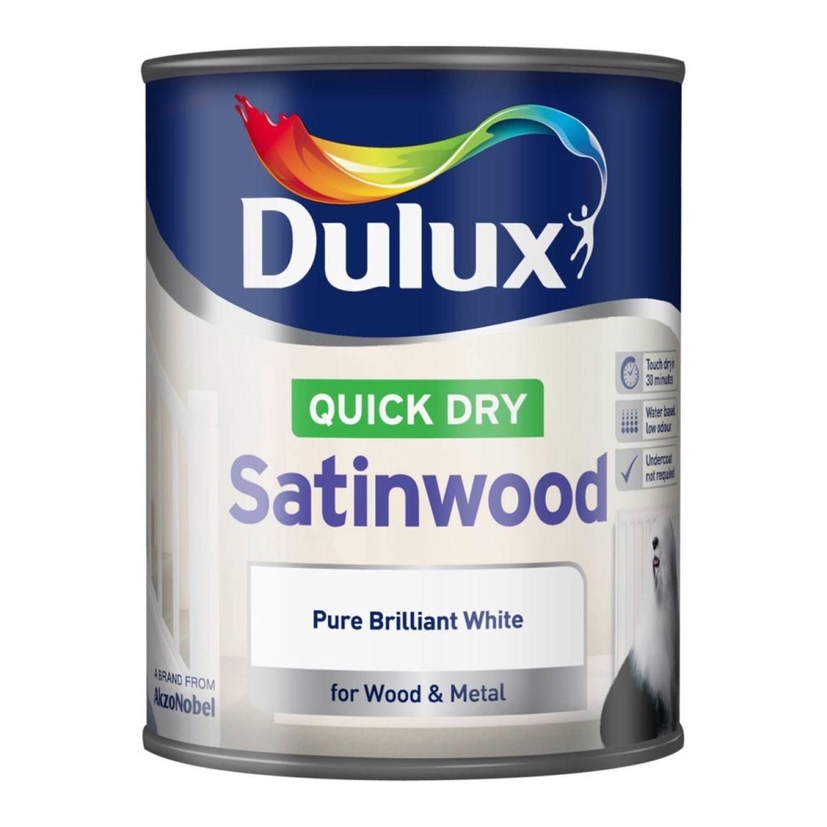 Dulux Quick Dry Satinwood Paint - Brilliant White, 750ml