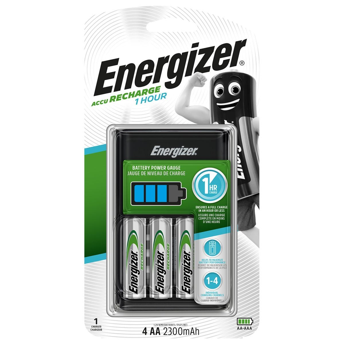 Energizer 1 Hour Rapid Charger Kit with 4 AA Rechargeable Batteries