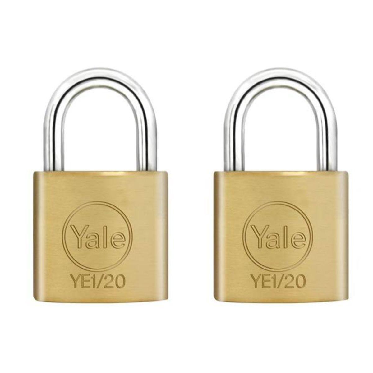 Yale 20mm Brass Padlocks - Pack of 2