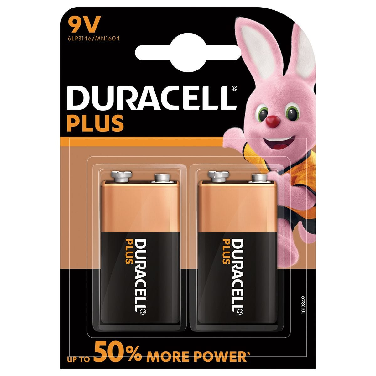 Duracell Plus Batteries 9V - 2 Pack