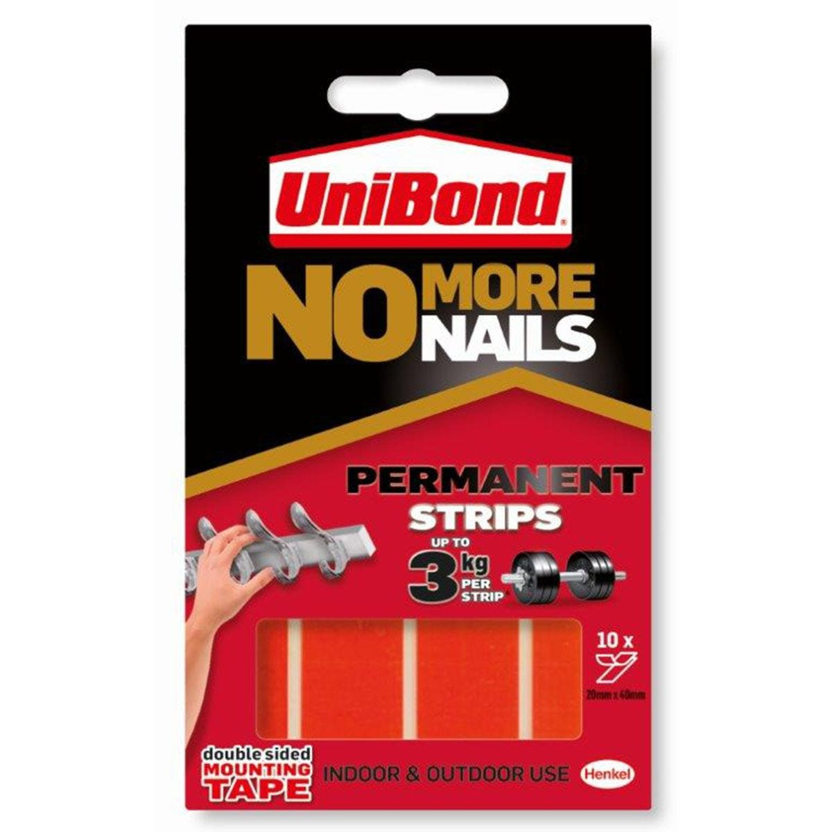 Unibond No More Nails Permanent Mounting Strips - Pack of 10