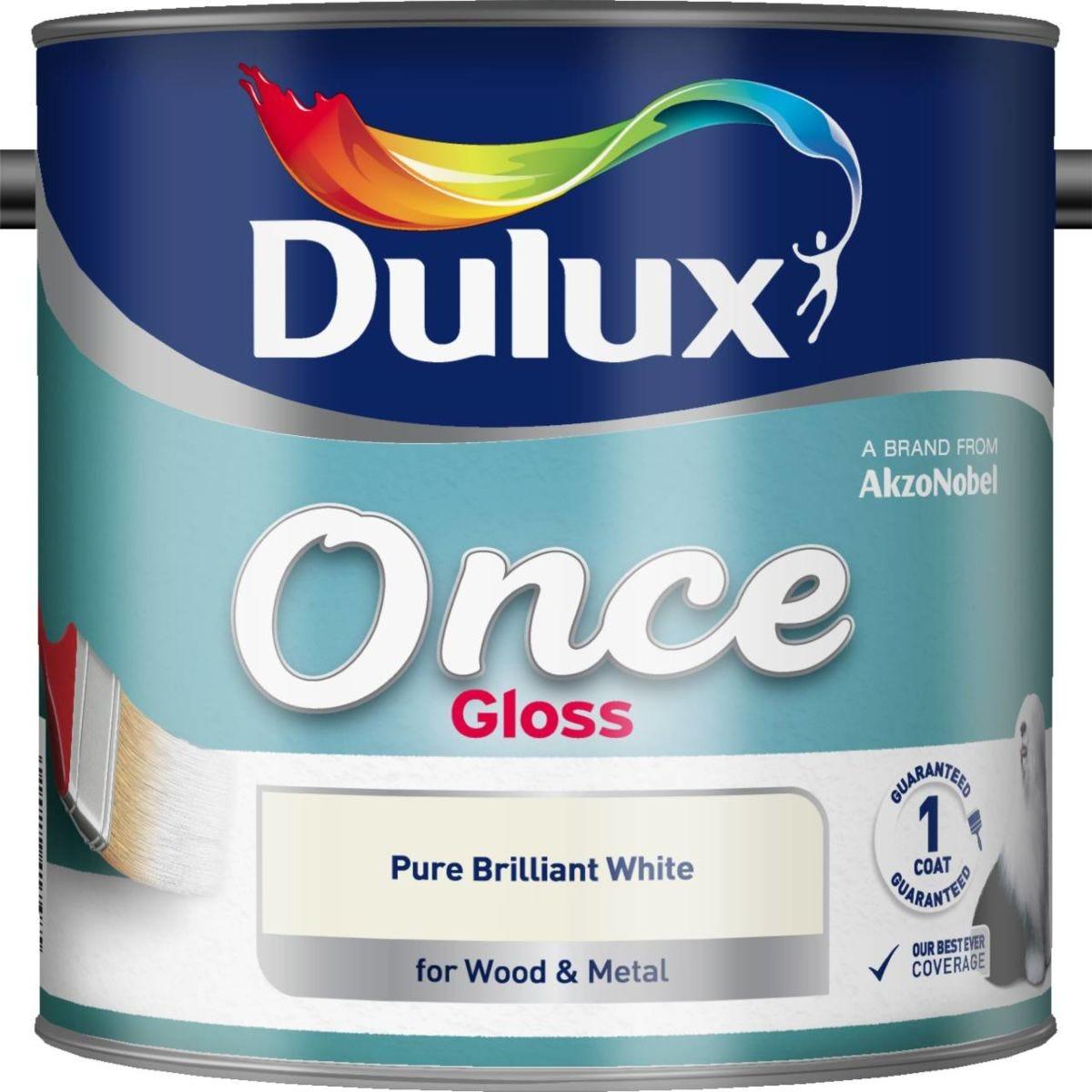 Dulux Once Gloss Brilliant White Paint - 2.5L