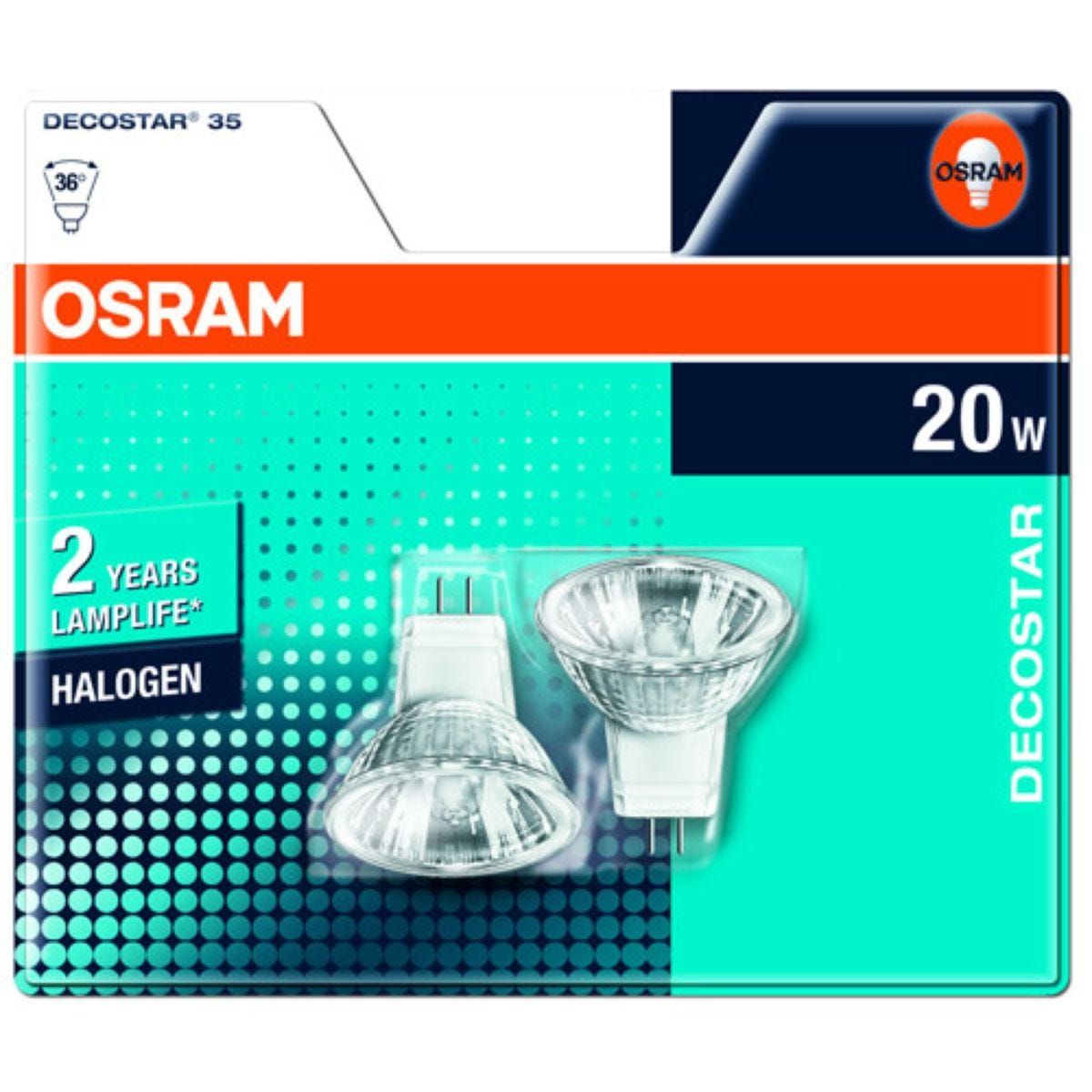 Osram 20W GU4 Eco Halogen Pin Base Light Bulbs - 2 Pack